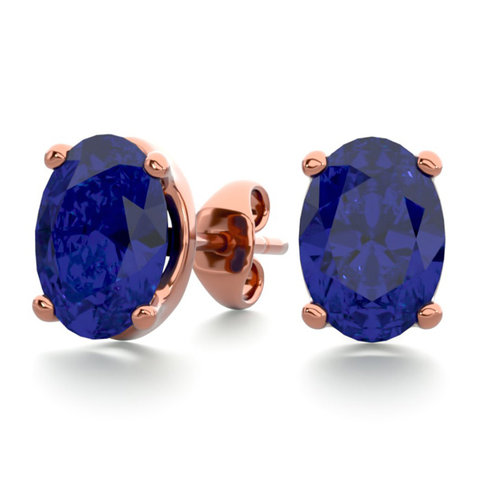 2 Carat Oval Shape Sapphire Stud Earrings In 14k Rose Gold Over Sterling Silver