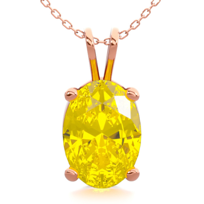 3/4 Carat Oval Shape Citrine Necklace In 14k Rose Gold Over Sterling Silver, 18 Inches
