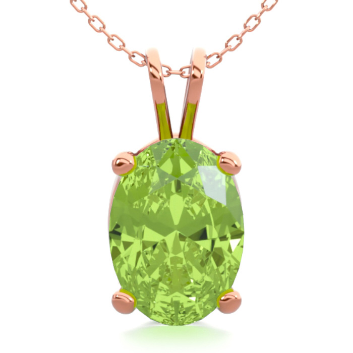 1 Carat Oval Shape Peridot Necklace In 14k Rose Gold Over Sterling Silver, 18 Inches