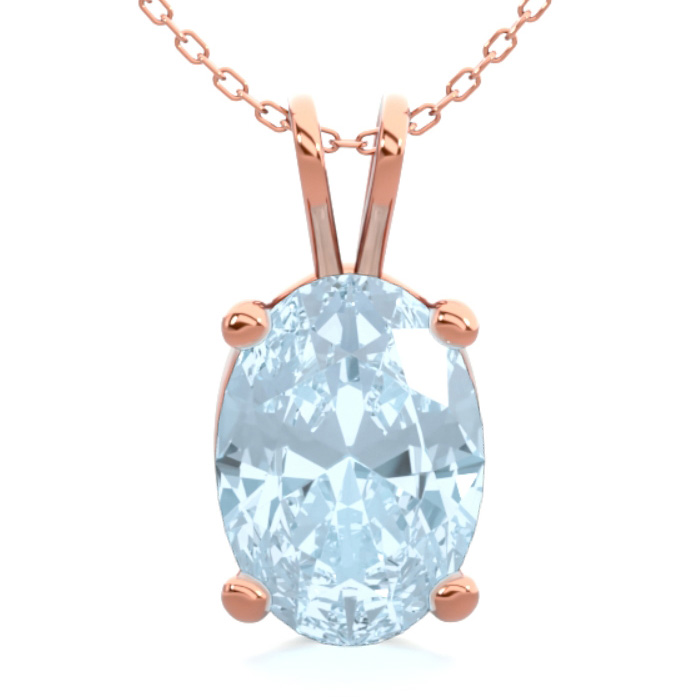 3/4 Carat Oval Shape Aquamarine Necklace In 14K Rose Gold Over Sterling Silv..