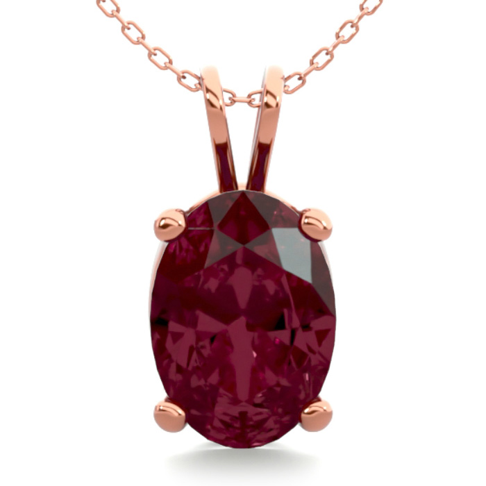 1 Carat Oval Shape Garnet Necklace In 14k Rose Gold Over Sterling Silver, 18 Inches