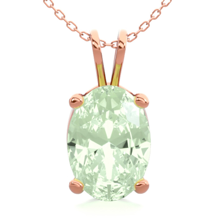 3/4 Carat Oval Shape Green Amethyst Necklace In 14k Rose Gold Over Sterling Silver, 18 Inches