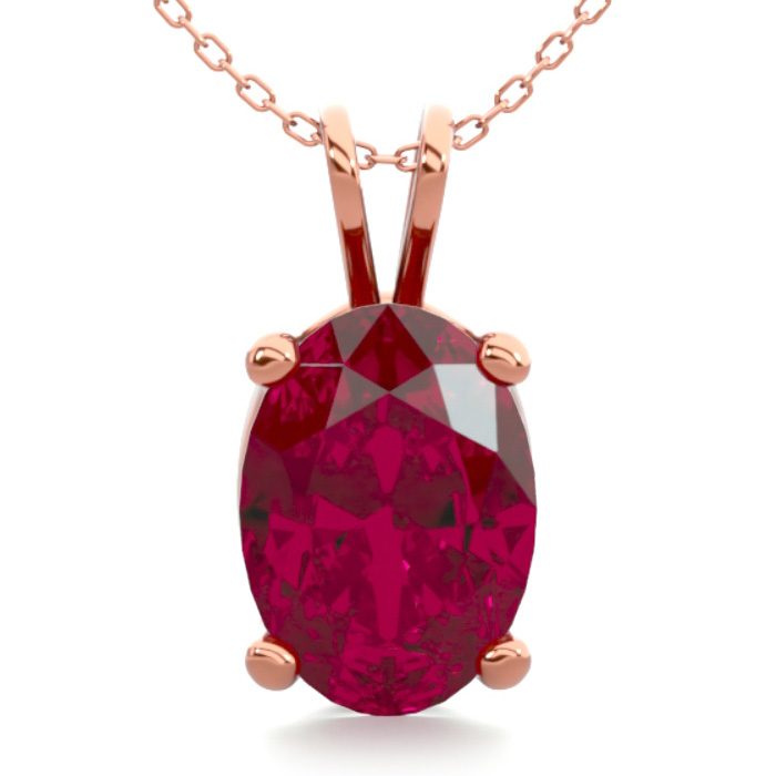 1 Carat Oval Shape Ruby Necklace In 14k Rose Gold Over Sterling Silver, 18 Inches