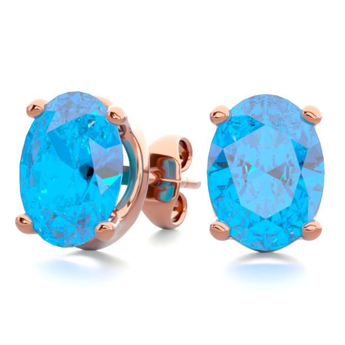 3 Carat Oval Shape Blue Topaz Stud Earrings In 14k Rose Gold Over Sterling Silver