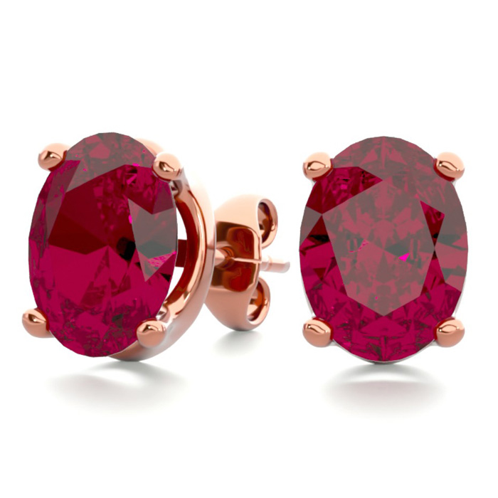 3 Carat Oval Shape Ruby Stud Earrings In 14k Rose Gold Over Sterling Silver