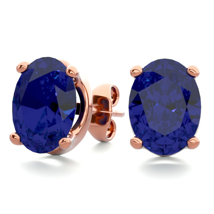 3 Carat Oval Shape Sapphire Stud Earrings In 14k Rose Gold Over Sterling Silver