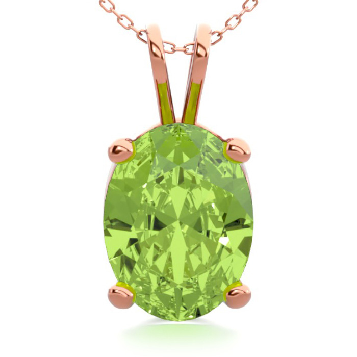 1 1/3 Carat Oval Shape Peridot Necklace In 14k Rose Gold Over Sterling Silver, 18 Inches