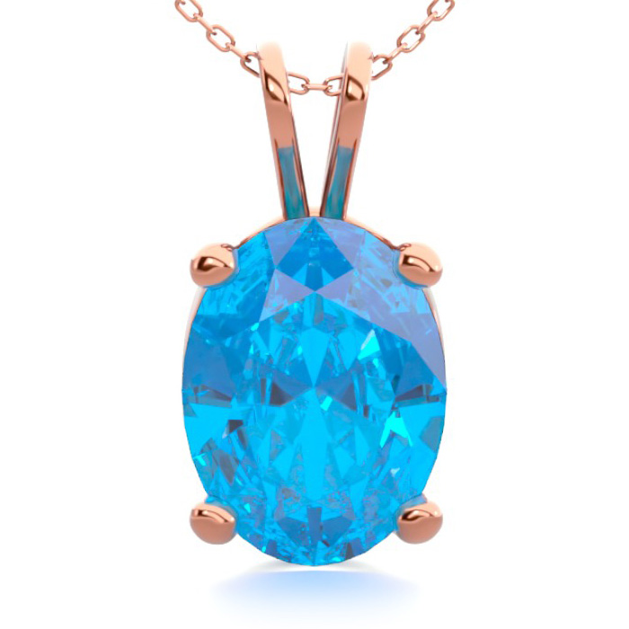 1 1/2 Carat Oval Shape Blue Topaz Necklace In 14k Rose Gold Over Sterling Silver, 18 Inches