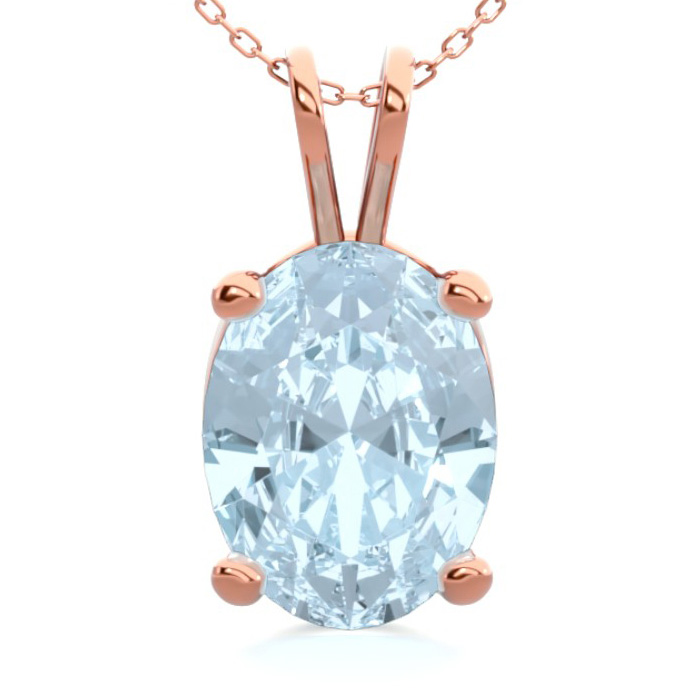 1 Carat Oval Shape Aquamarine Necklace In 14K Rose Gold Over Sterling Silver..