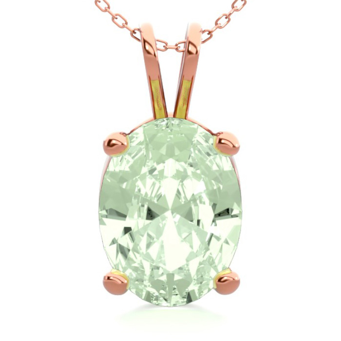 1 Carat Oval Shape Green Amethyst Necklace In 14k Rose Gold Over Sterling Silver, 18 Inches