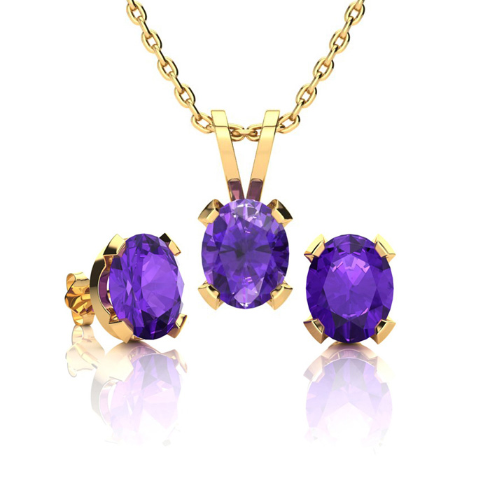 1 1/3 Carat Oval Shape Amethyst Necklace And Earring Set In 14k Yellow Gold Over Sterling Silver
