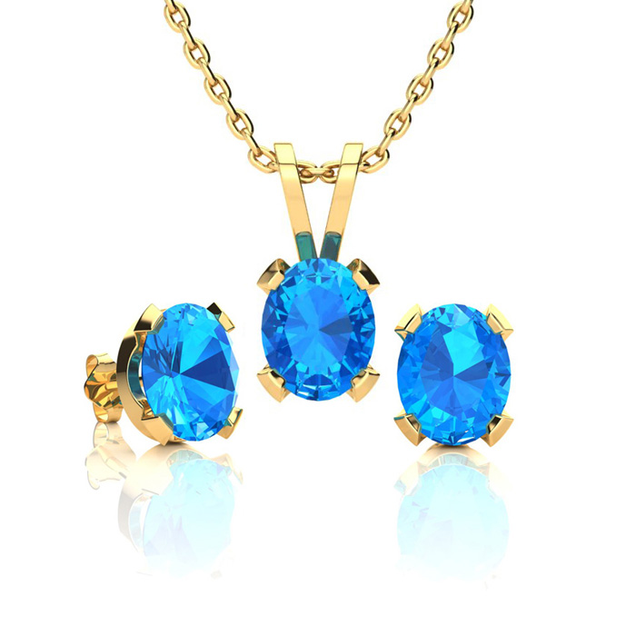 1 1/2 Carat Oval Shape Blue Topaz Necklace and Earring Set In 14K Yellow Gol..