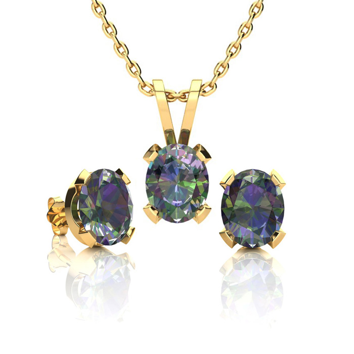 1 1/3 Carat Oval Shape Mystic Topaz Necklace and Earring Set In 14K Yellow G..