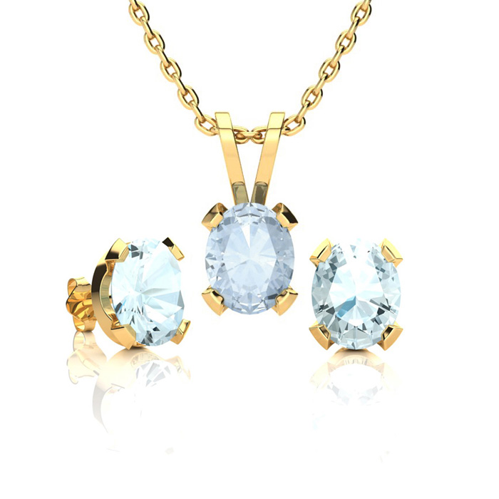 1 1/3 Carat Oval Shape Aquamarine Necklace and Earring Set In 14K Yellow Gol..
