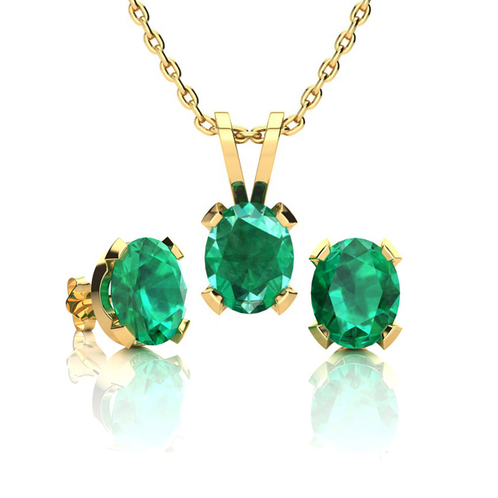 1 1/3 Carat Oval Shape Emerald Necklace and Earring Set In 14K Yellow Gold O..