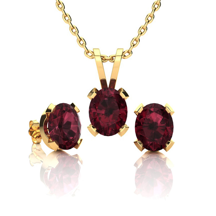 1 1/2 Carat Oval Shape Garnet Necklace and Earring Set In 14K Yellow Gold Ov..