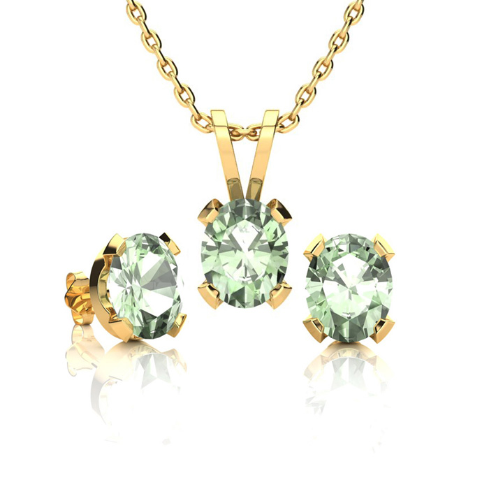 1 1/3 Carat Oval Shape Green Amethyst Necklace And Earring Set In 14k Yellow Gold Over Sterling Silver