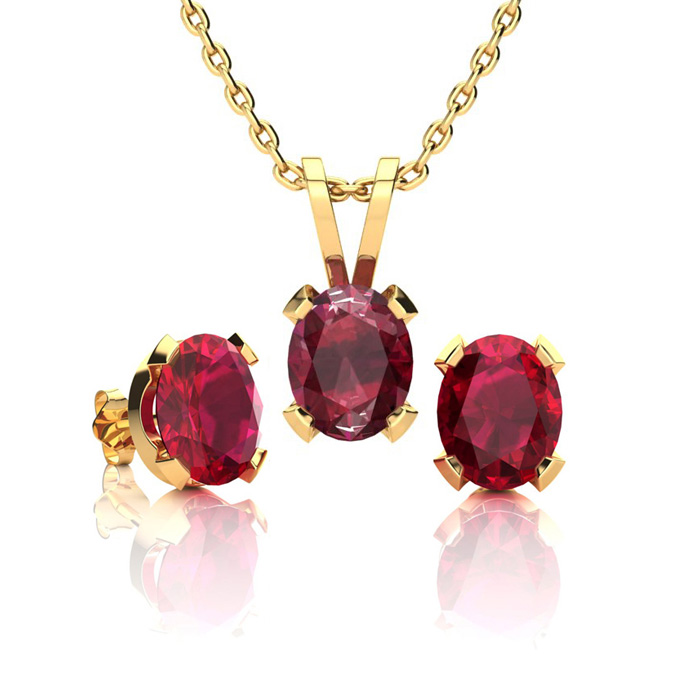 1 1/2 Carat Oval Shape Ruby Necklace And Earring Set In 14k Yellow Gold Over Sterling Silver