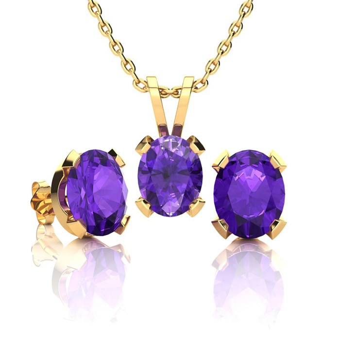 2 Carat Oval Shape Amethyst Necklace And Earring Set In 14k Yellow Gold Over Sterling Silver