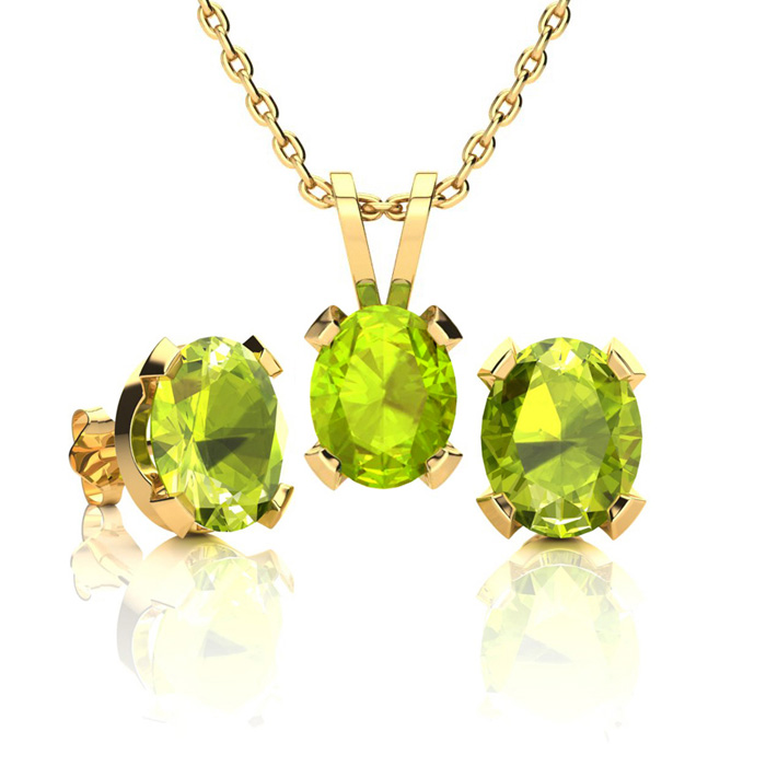 2 3/4 Carat Oval Shape Peridot Necklace And Earring Set In 14k Yellow Gold Over Sterling Silver