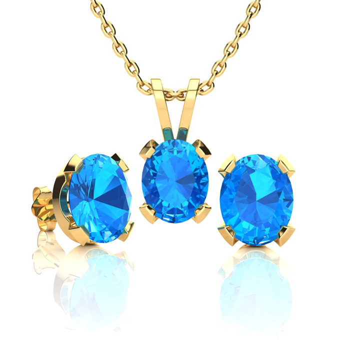 3 Carat Oval Shape Blue Topaz Necklace and Earring Set In 14K Yellow Gold Ov..