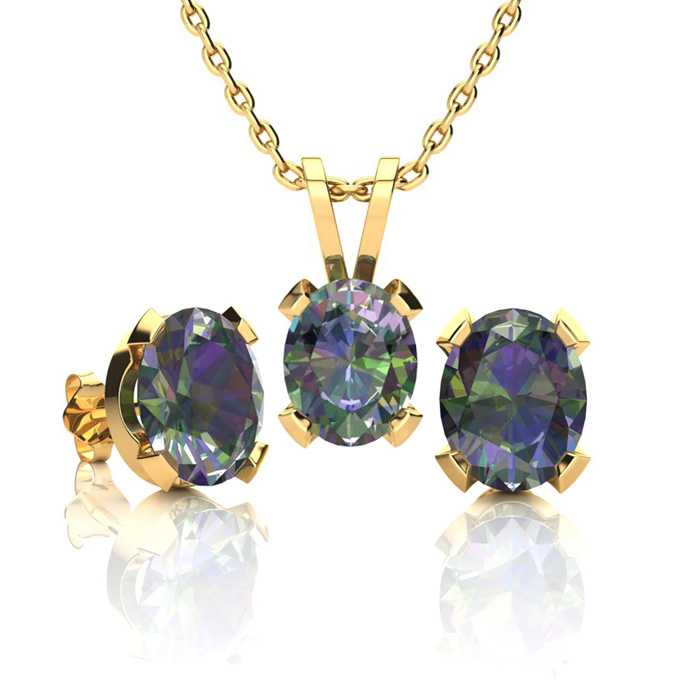 2 Carat Oval Shape Mystic Topaz Necklace and Earring Set In 14K Yellow Gold ..
