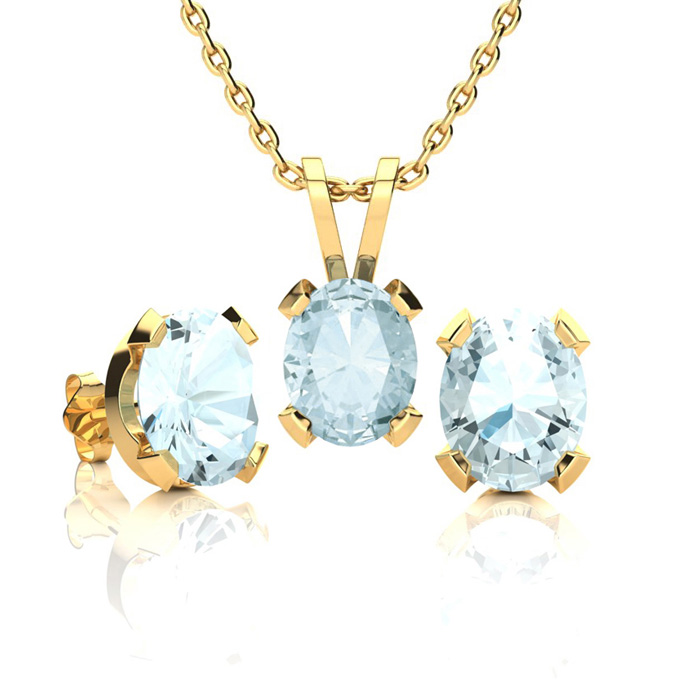 2 1/2 Carat Oval Shape Aquamarine Necklace and Earring Set In 14K Yellow Gol..