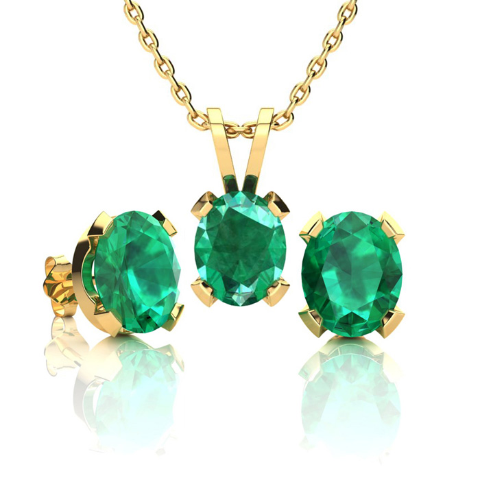 2 1/2 Carat Oval Shape Emerald Necklace and Earring Set In 14K Yellow Gold O..