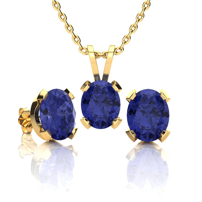 3 Carat Oval Shape Tanzanite Necklace And Earring Set In 14k Yellow Gold Over Sterling Silver