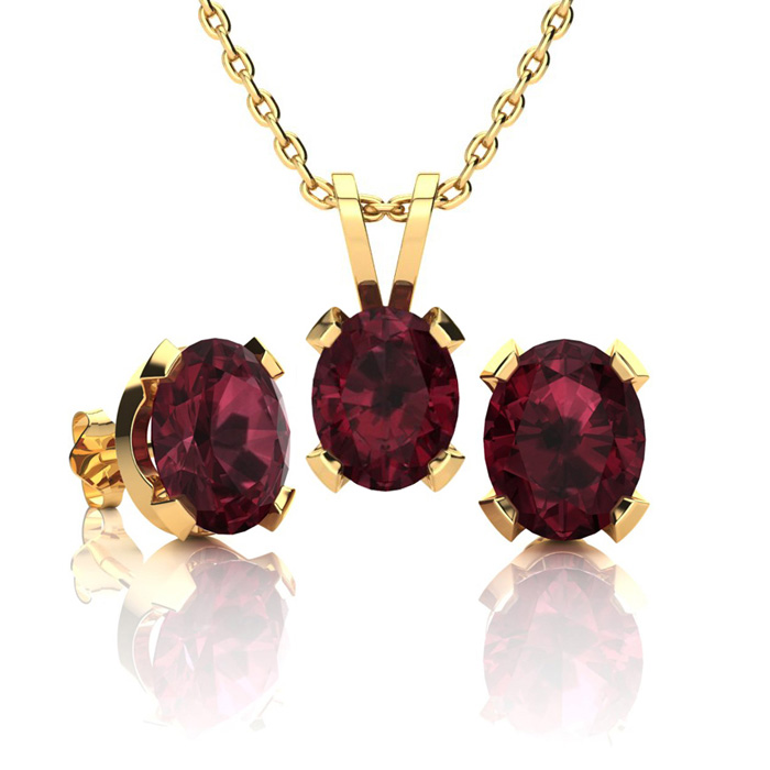 3 Carat Oval Shape Garnet Necklace And Earring Set In 14k Yellow Gold Over Sterling Silver