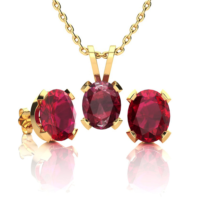 3 Carat Oval Shape Ruby Necklace And Earring Set In 14k Yellow Gold Over Sterling Silver