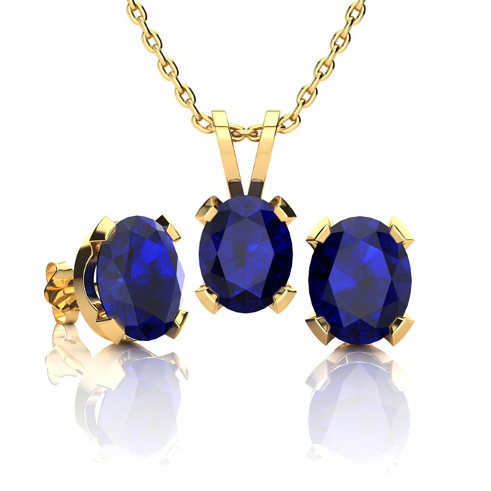 3 Carat Oval Shape Sapphire Necklace And Earring Set In 14k Yellow Gold Over Sterling Silver