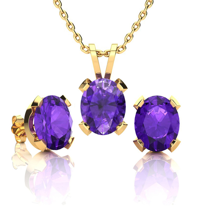 3 Carat Oval Shape Amethyst Necklace and Earring Set In 14K Yellow Gold Over..