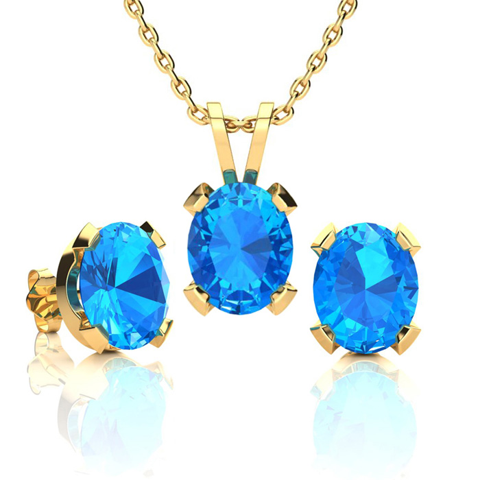 4 1/2 Carat Oval Shape Blue Topaz Necklace and Earring Set In 14K Yellow Gol..