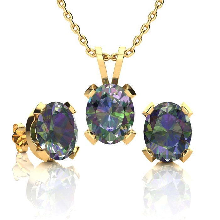3 Carat Oval Shape Mystic Topaz Necklace and Earring Set In 14K Yellow Gold ..
