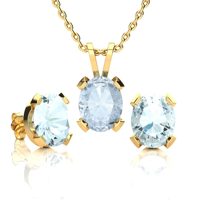 3 1/2 Carat Oval Shape Aquamarine Necklace and Earring Set In 14K Yellow Gol..