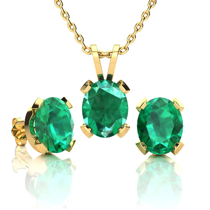 3 1/2 Carat Oval Shape Emerald Necklace and Earring Set In 14K Yellow Gold O..