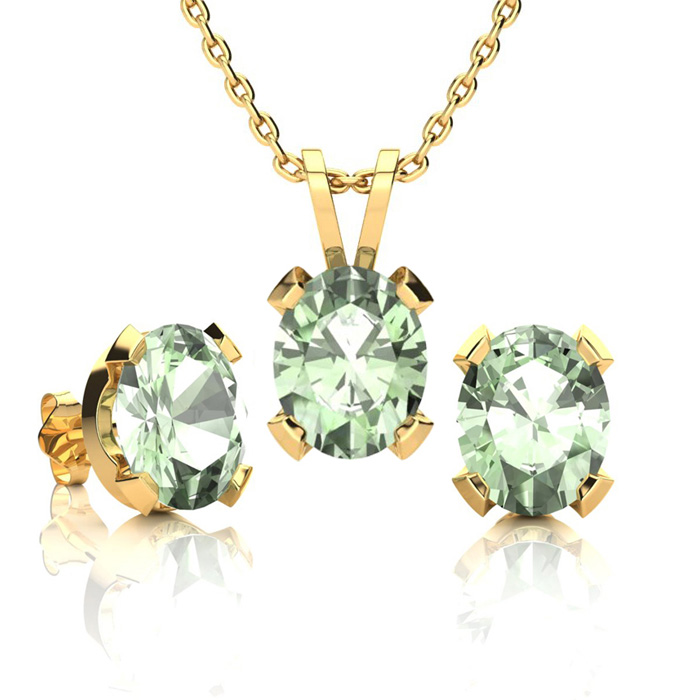 3 Carat Oval Shape Green Amethyst Necklace and Earring Set In 14K Yellow Gol..
