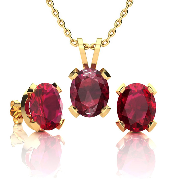 4 1/2 Carat Oval Shape Ruby Necklace And Earring Set In 14k Yellow Gold Over Sterling Silver