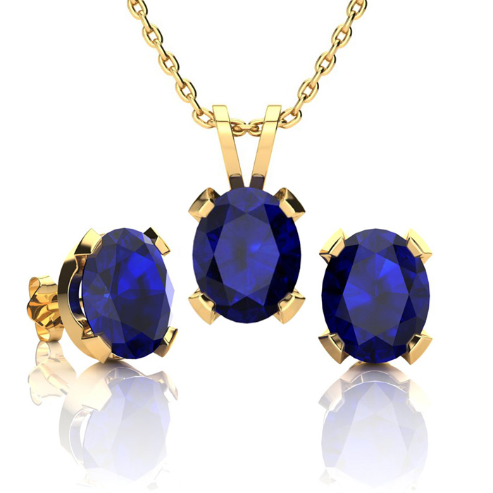 5 Carat Oval Shape Sapphire Necklace And Earring Set In 14k Yellow Gold Over Sterling Silver