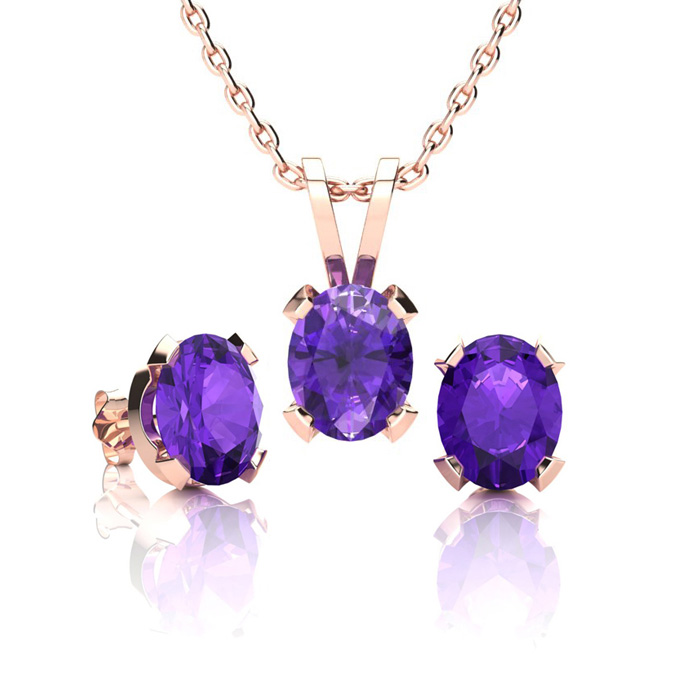 1 1/3 Carat Oval Shape Amethyst Necklace and Earring Set In 14K Rose Gold Ov..