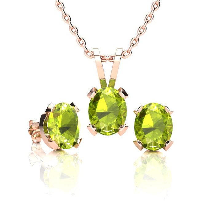 1 1/2 Carat Oval Shape Peridot Necklace And Earring Set In 14k Rose Gold Over Sterling Silver