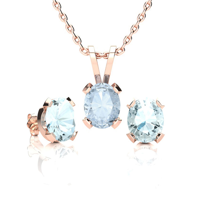 1 1/3 Carat Oval Shape Aquamarine Necklace and Earring Set In 14K Rose Gold ..