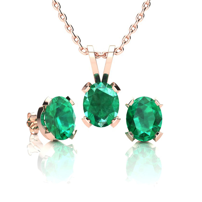 1 1/3 Carat Oval Shape Emerald Necklace and Earring Set In 14K Rose Gold Ove..