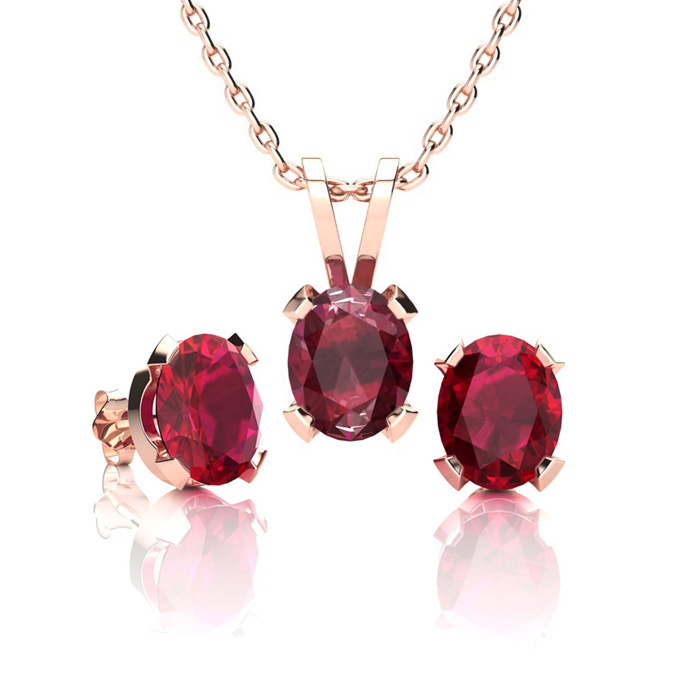 1 1/2 Carat Oval Shape Ruby Necklace And Earring Set In 14k Rose Gold Over Sterling Silver