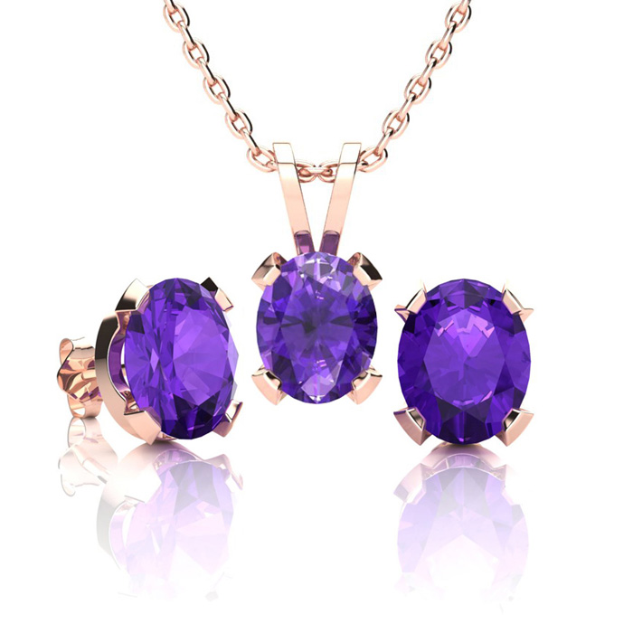 2 Carat Oval Shape Amethyst Necklace And Earring Set In 14k Rose Gold Over Sterling Silver