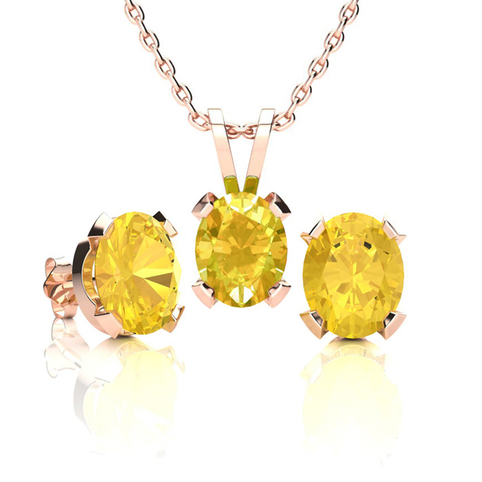2 1/2 Carat Oval Shape Citrine Necklace And Earring Set In 14k Rose Gold Over Sterling Silver
