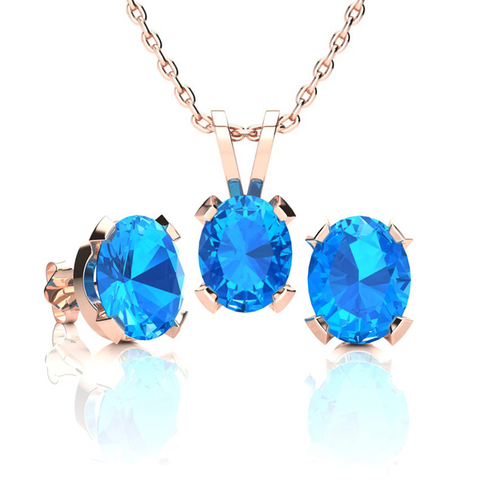 3 Carat Oval Shape Blue Topaz Necklace and Earring Set In 14K Rose Gold Over..