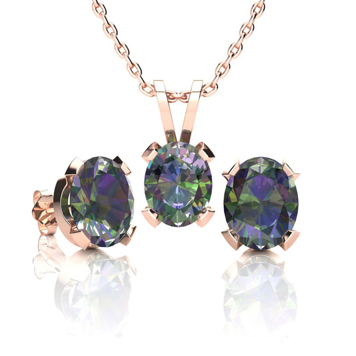 2 Carat Oval Shape Mystic Topaz Necklace And Earring Set In 14k Rose Gold Over Sterling Silver
