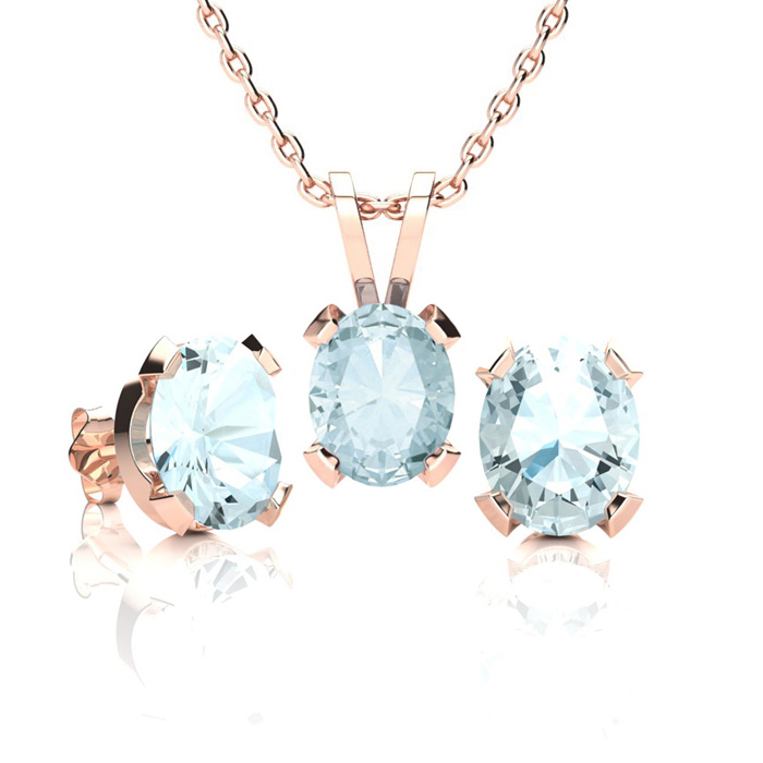 2 1/2 Carat Oval Shape Aquamarine Necklace and Earring Set In 14K Rose Gold ..